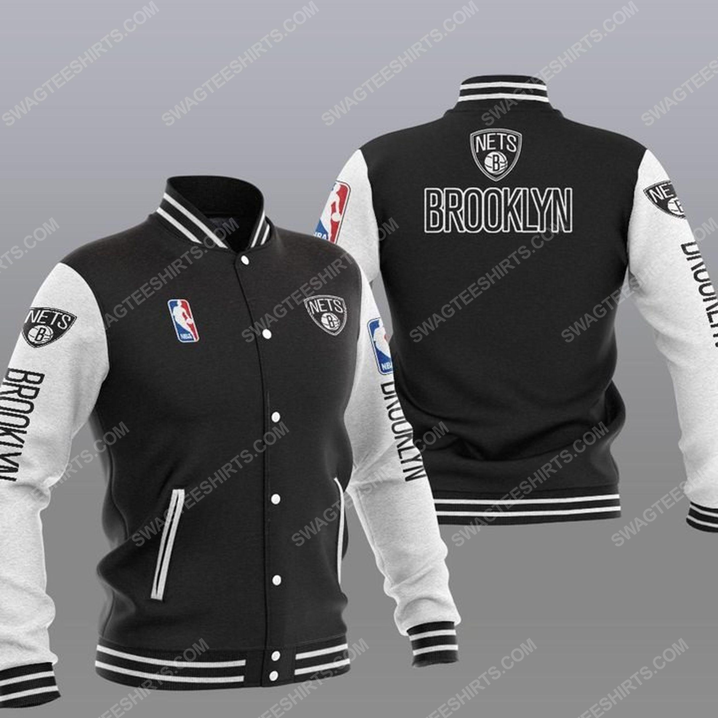 The brooklyn nets nba all over print baseball jacket - black 1