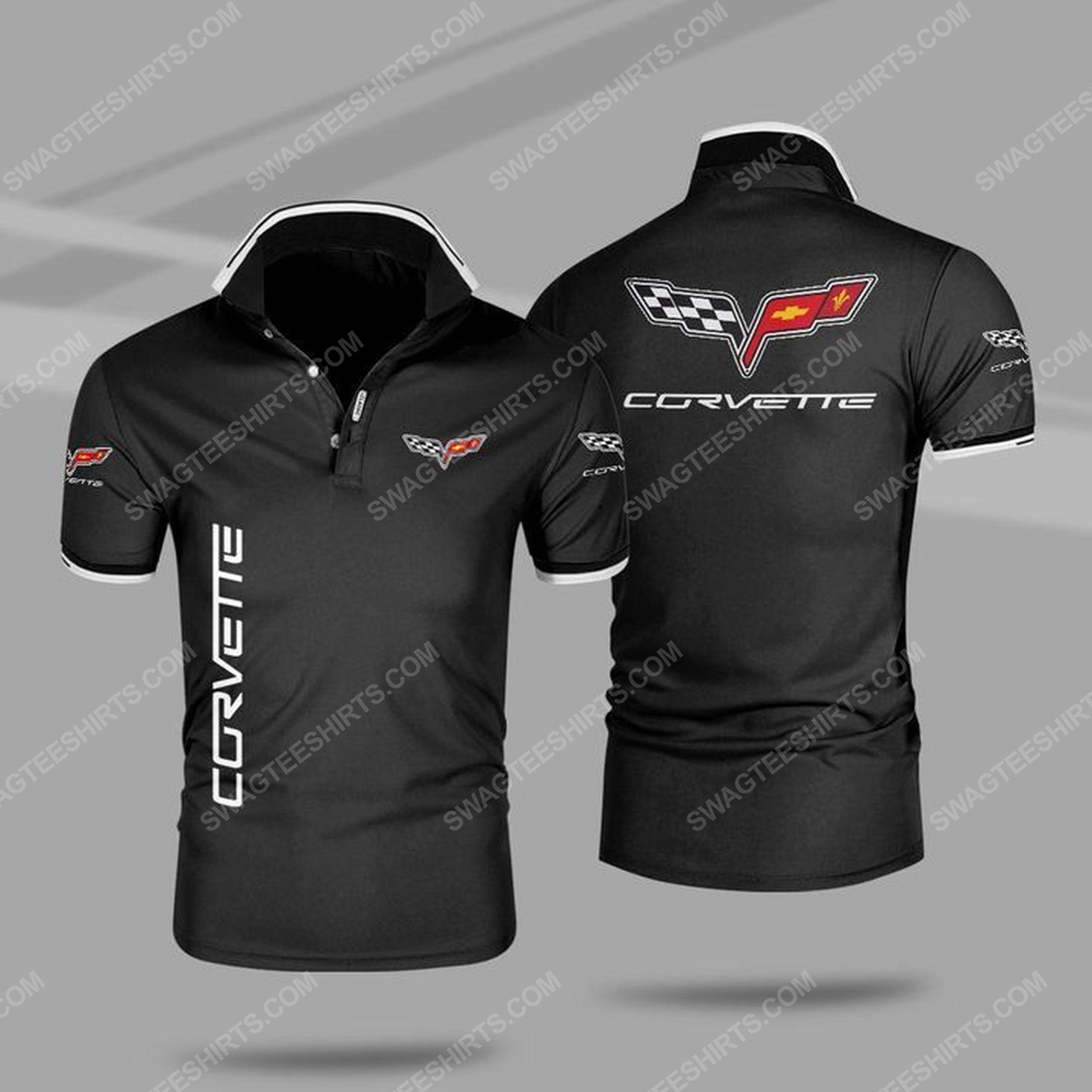 The chevrolet corvette symbol all over print polo shirt - black 1