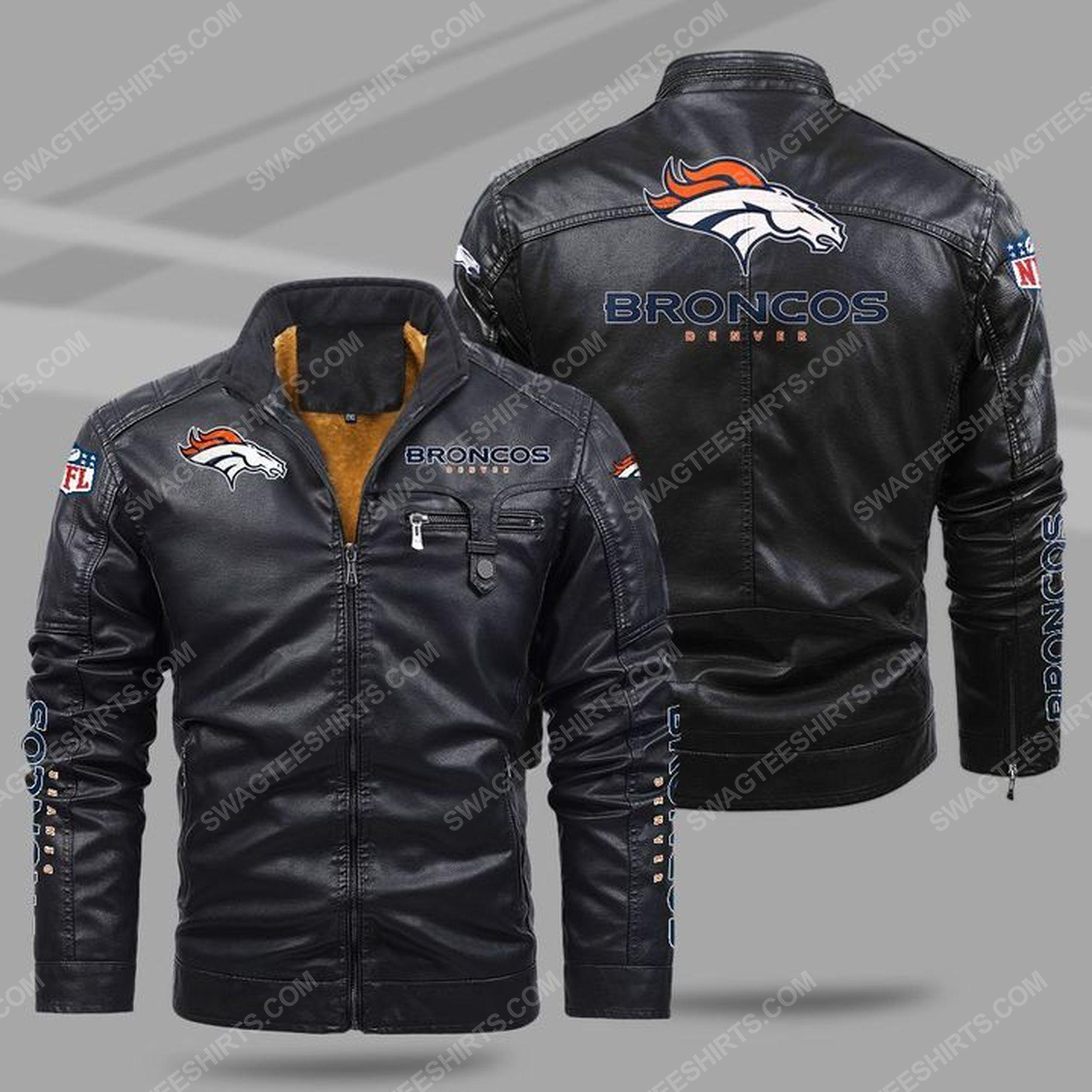 The denver broncos nfl all over print fleece leather jacket - black 1