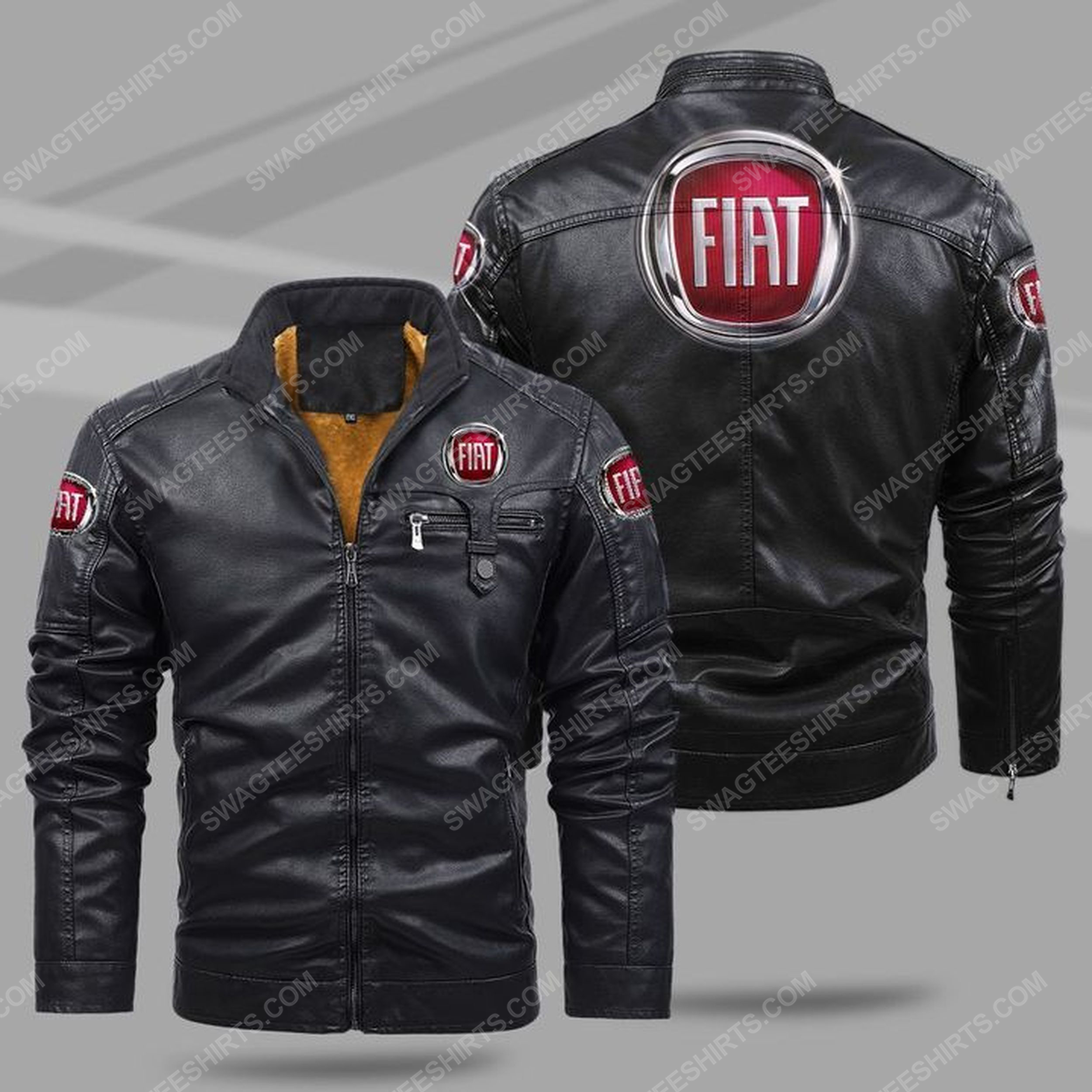 The fiat car all over print fleece leather jacket - black 1