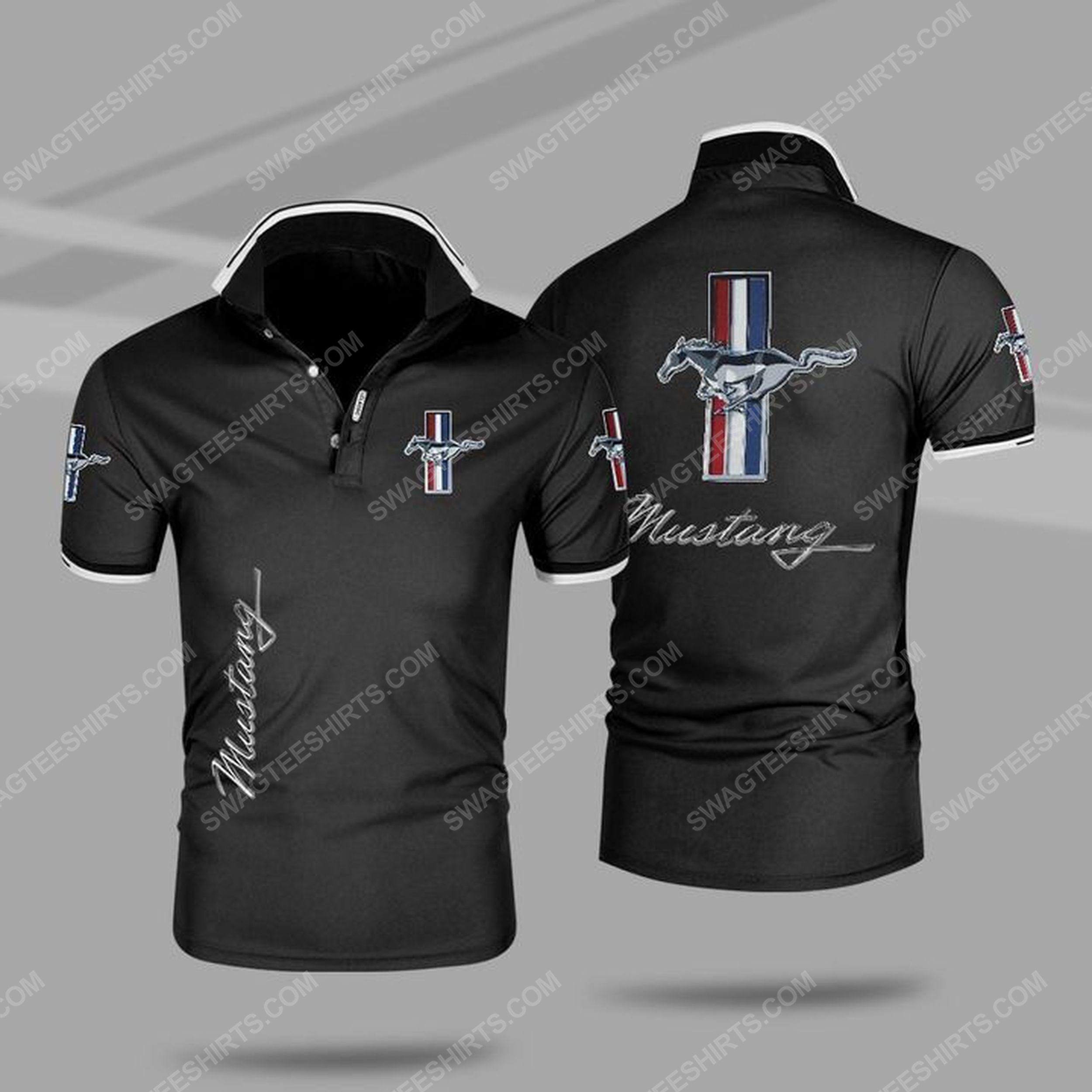 The ford mustang symbol all over print polo shirt - black 1