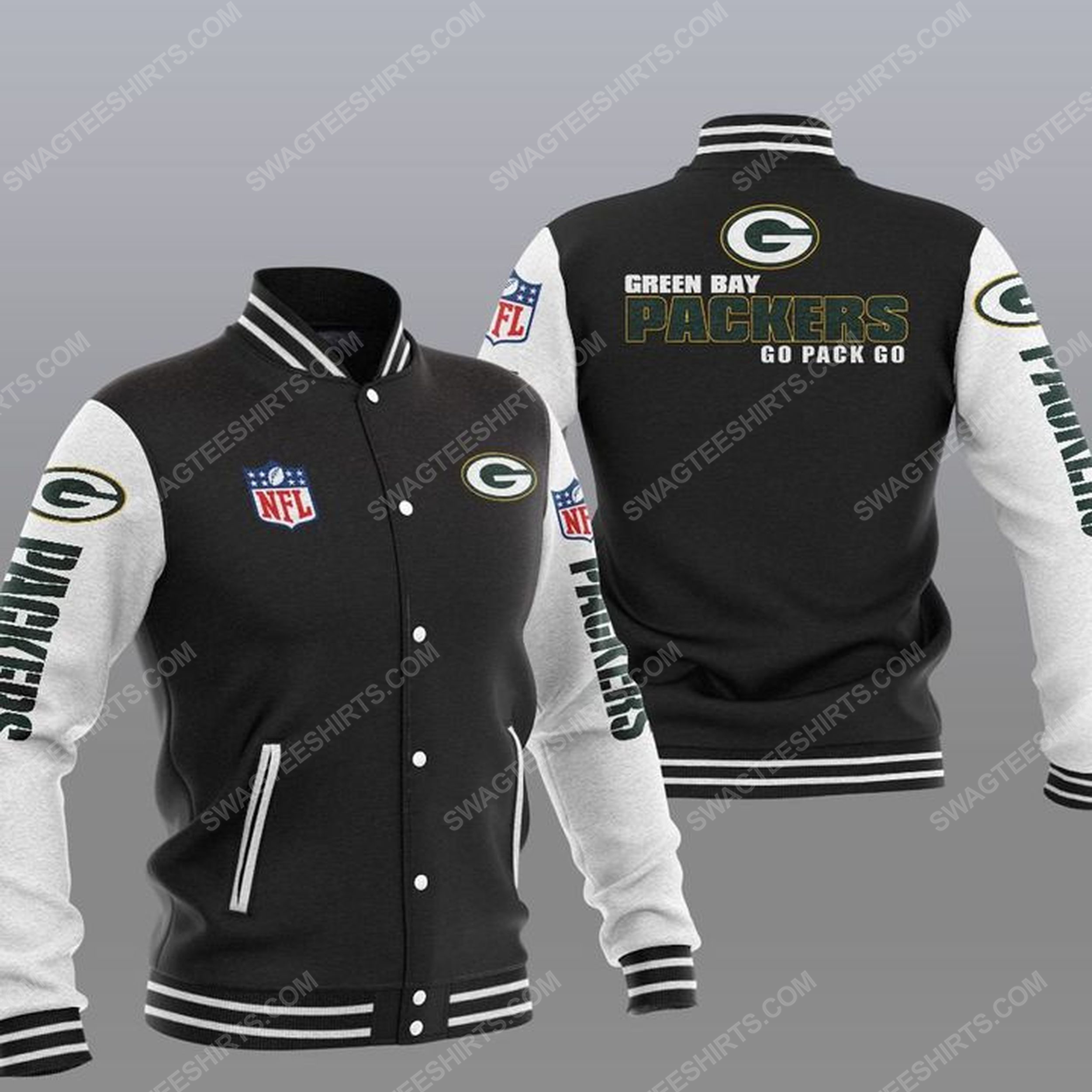 The green bay packers nfl all over print baseball jacket - black 1