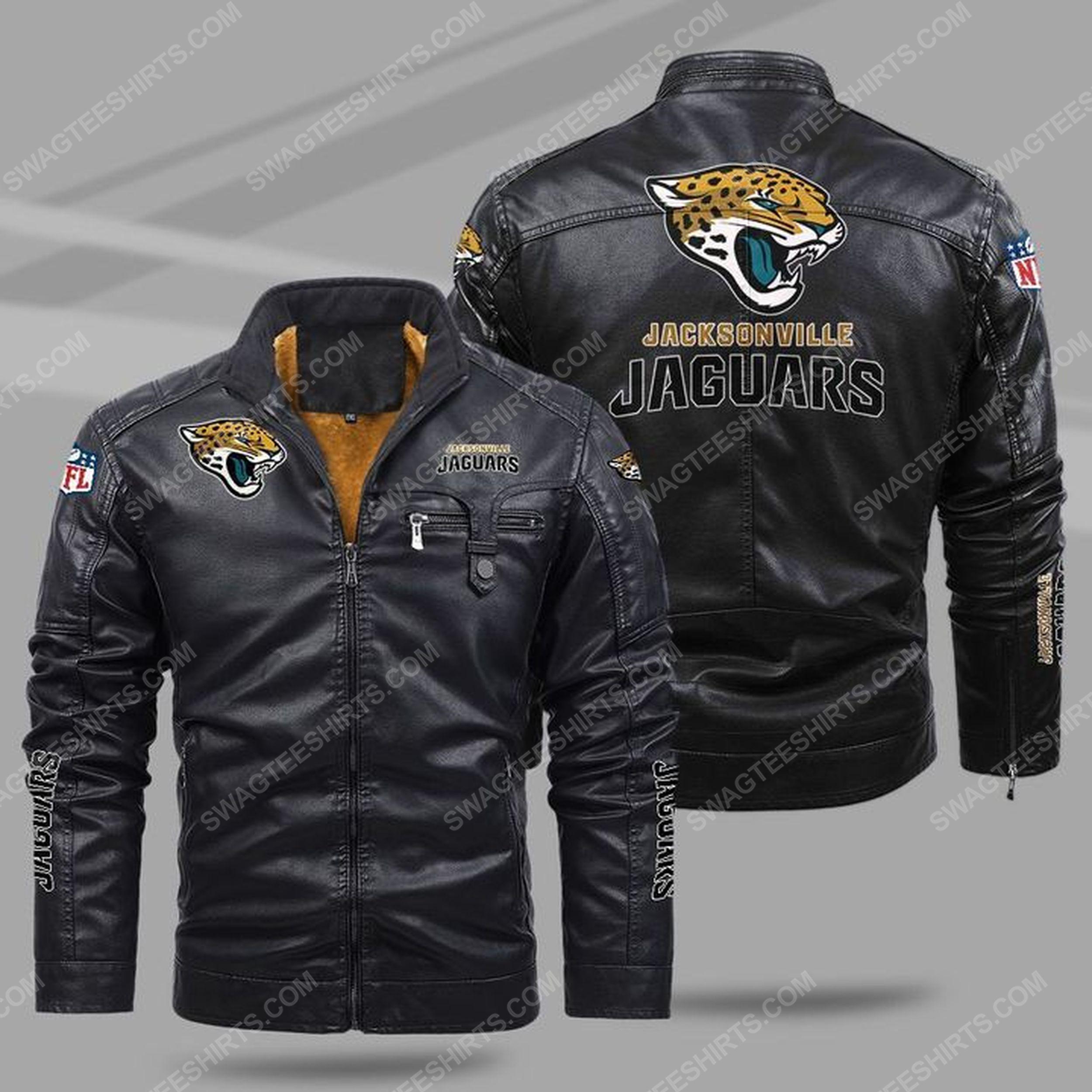 The jacksonville jaguars nfl all over print fleece leather jacket - black 1