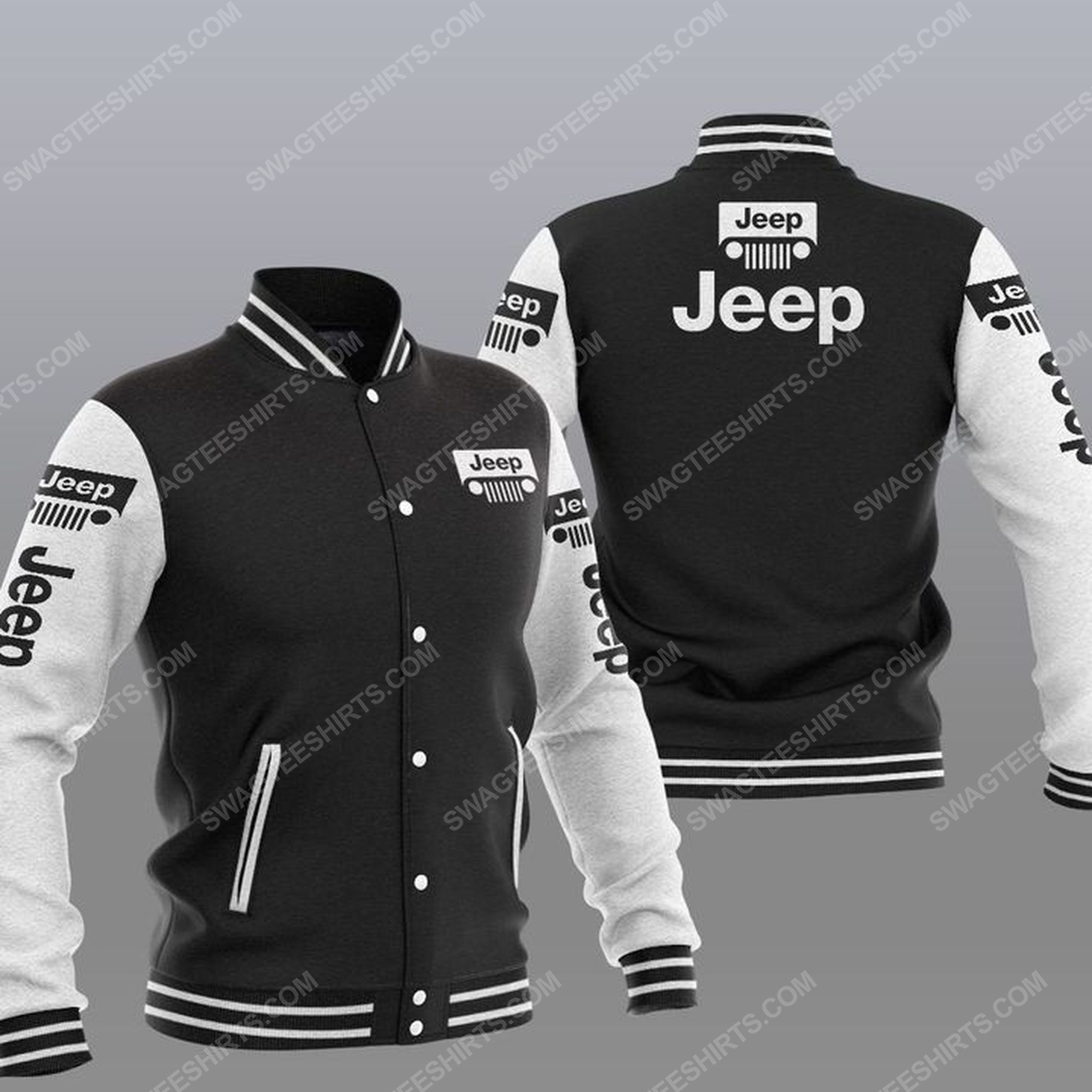 The jeep car symbol all over print baseball jacket - black 1