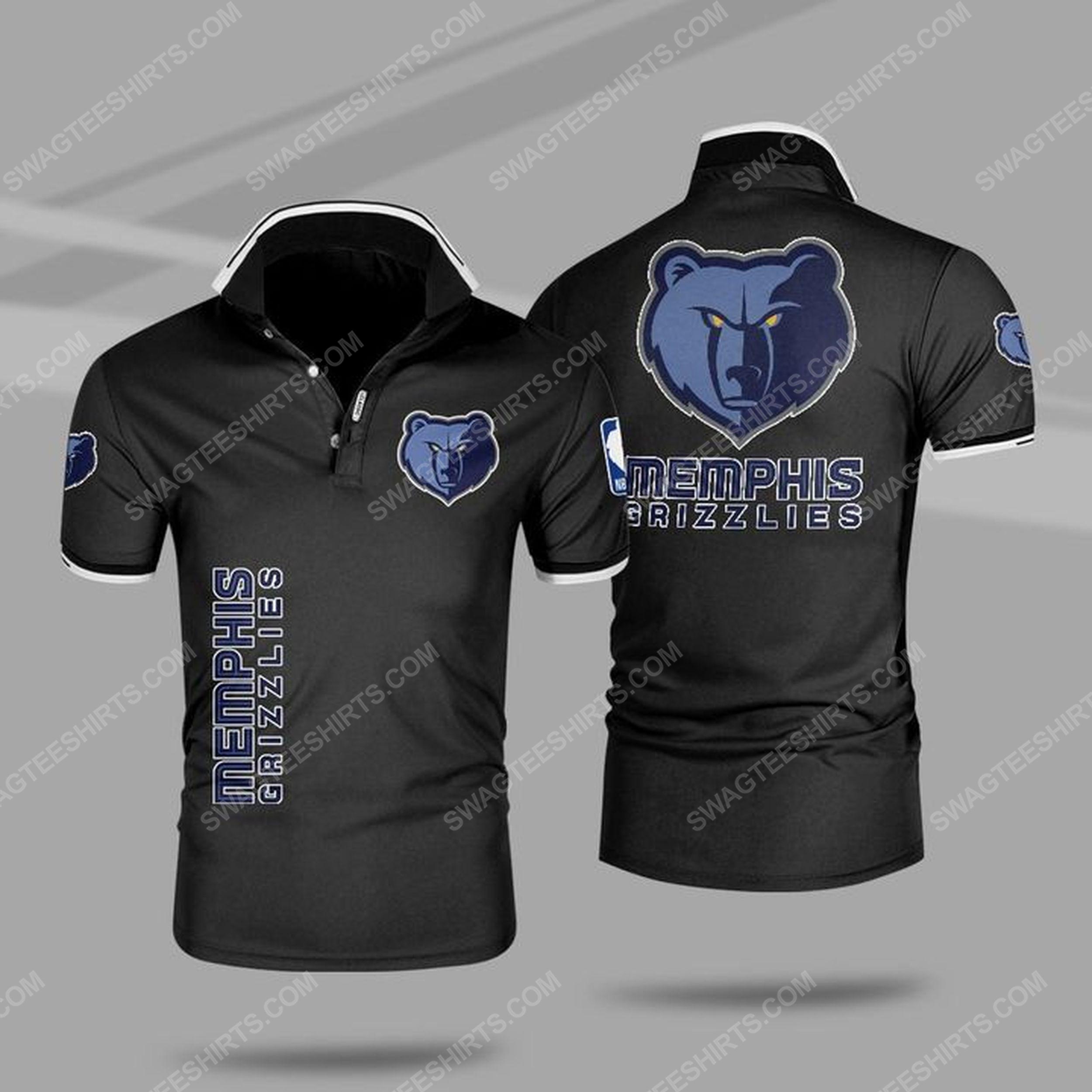 The memphis grizzlies nba all over print polo shirt - black 1