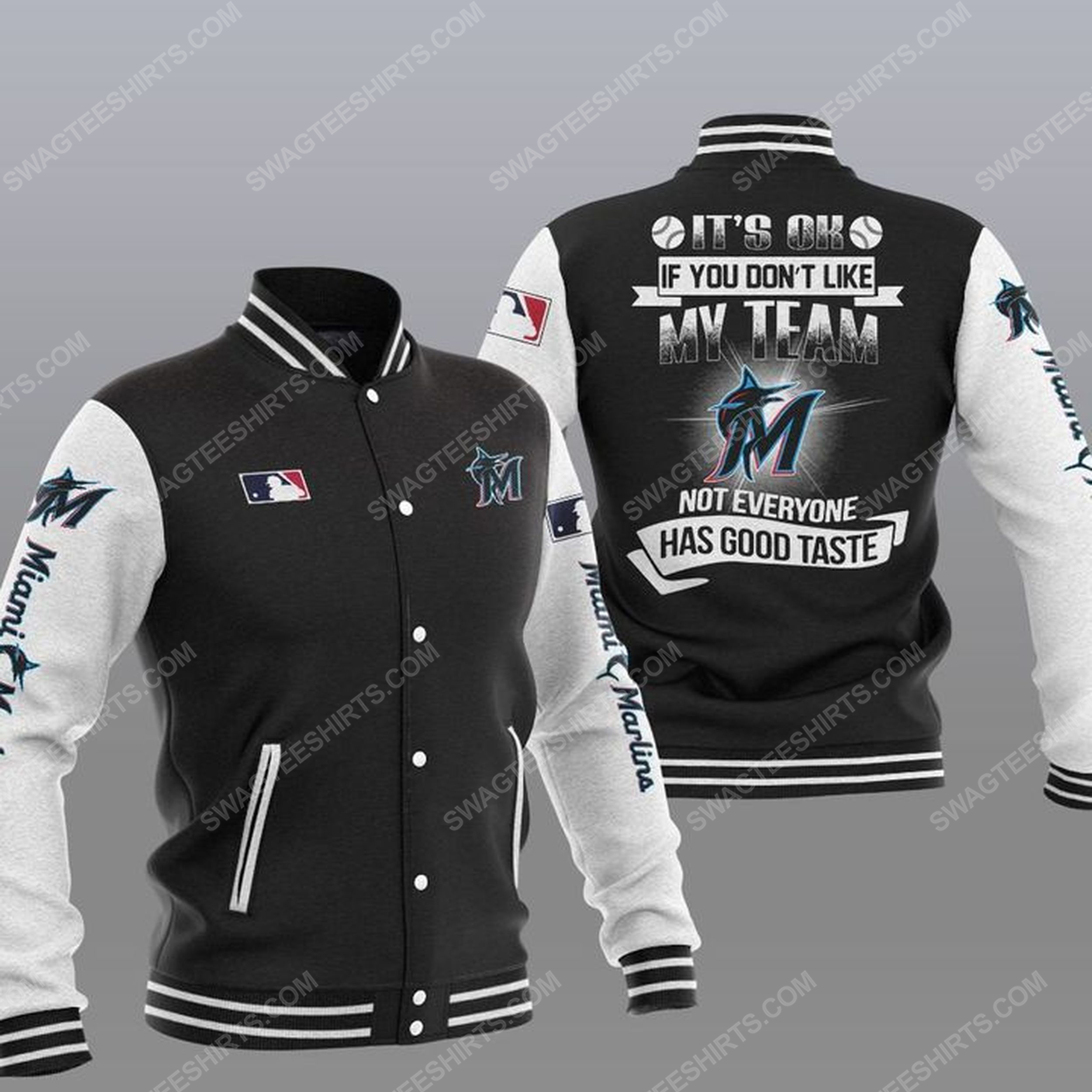 The miami marlins mlb all over print baseball jacket - black 1