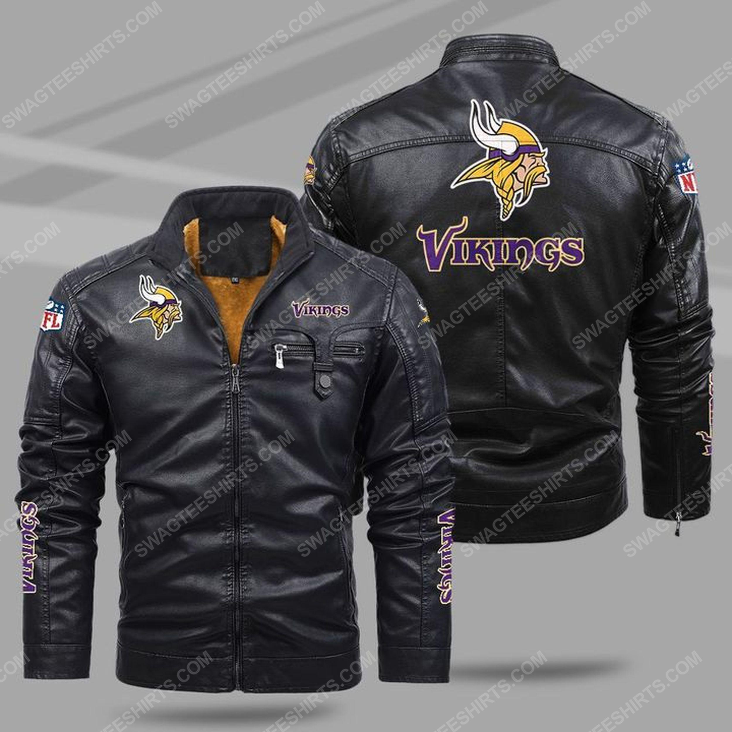 The minnesota vikings nfl all over print fleece leather jacket - black 1