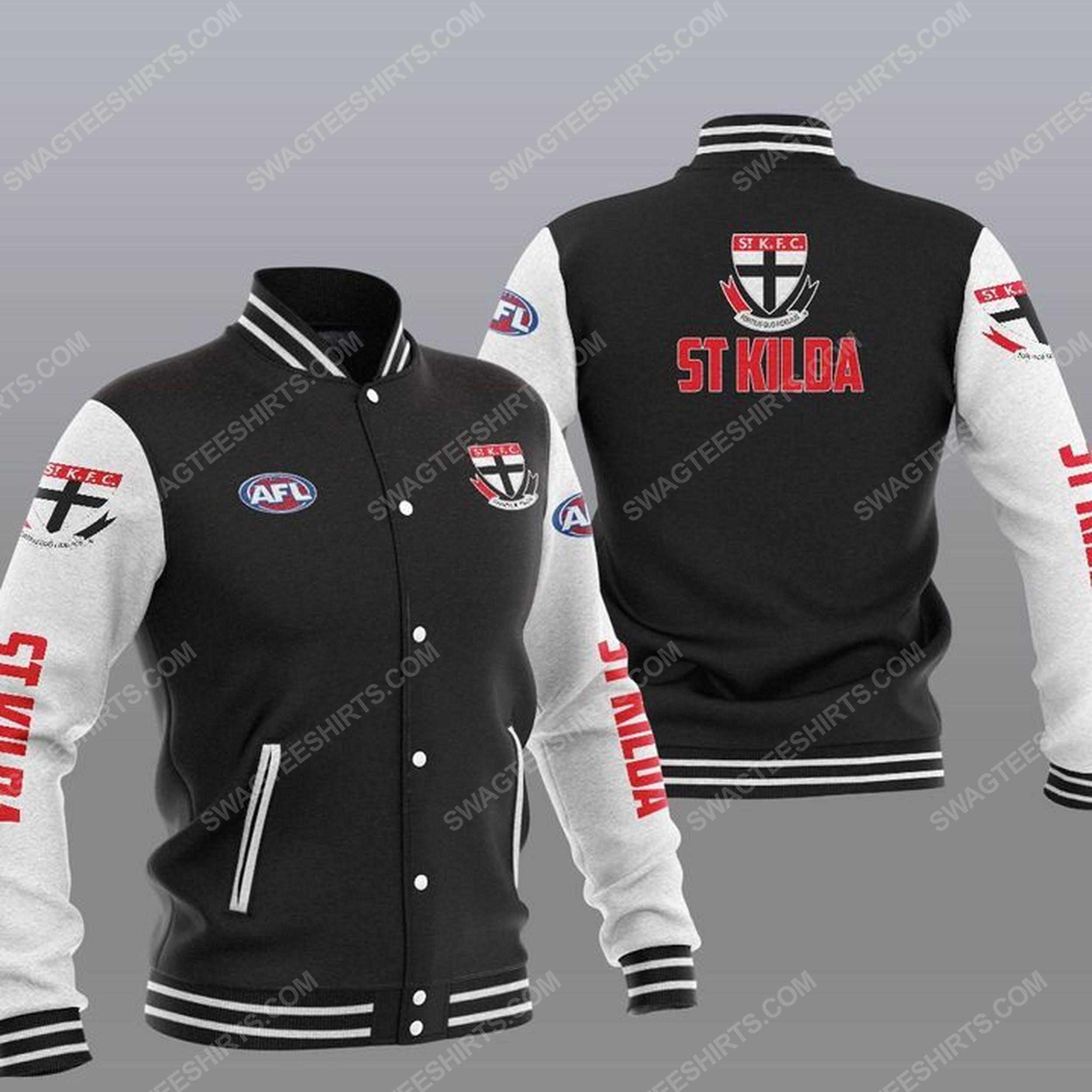 The st kilda football club all over print baseball jacket - black 1