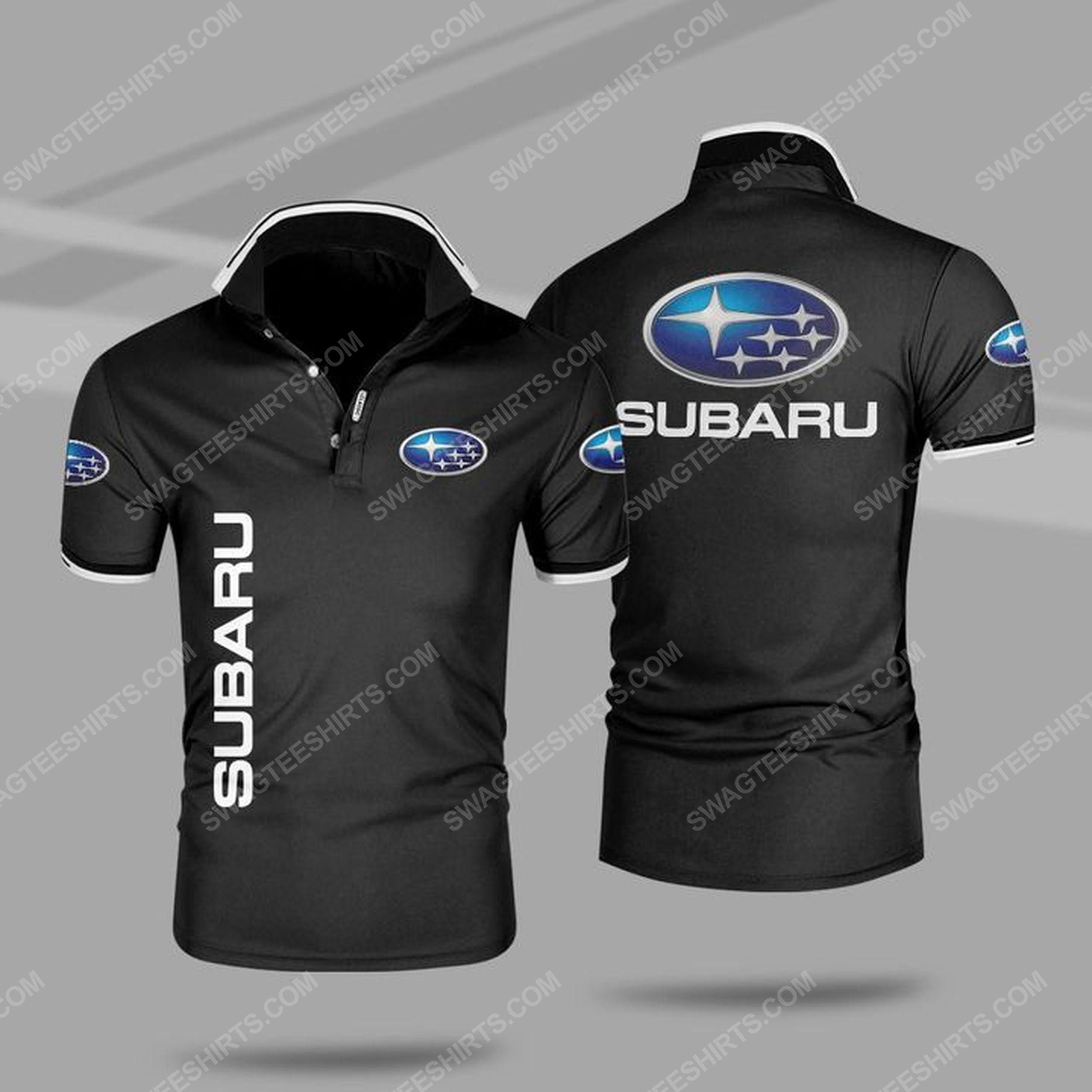The subaru car symbol all over print polo shirt - black 1