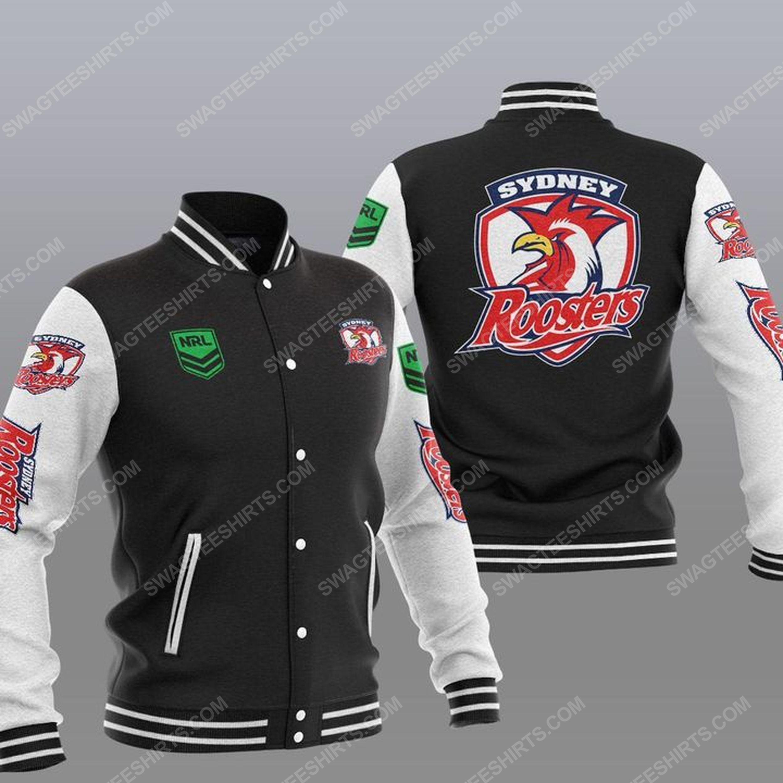 The sydney roosters nfl all over print baseball jacket - black 1