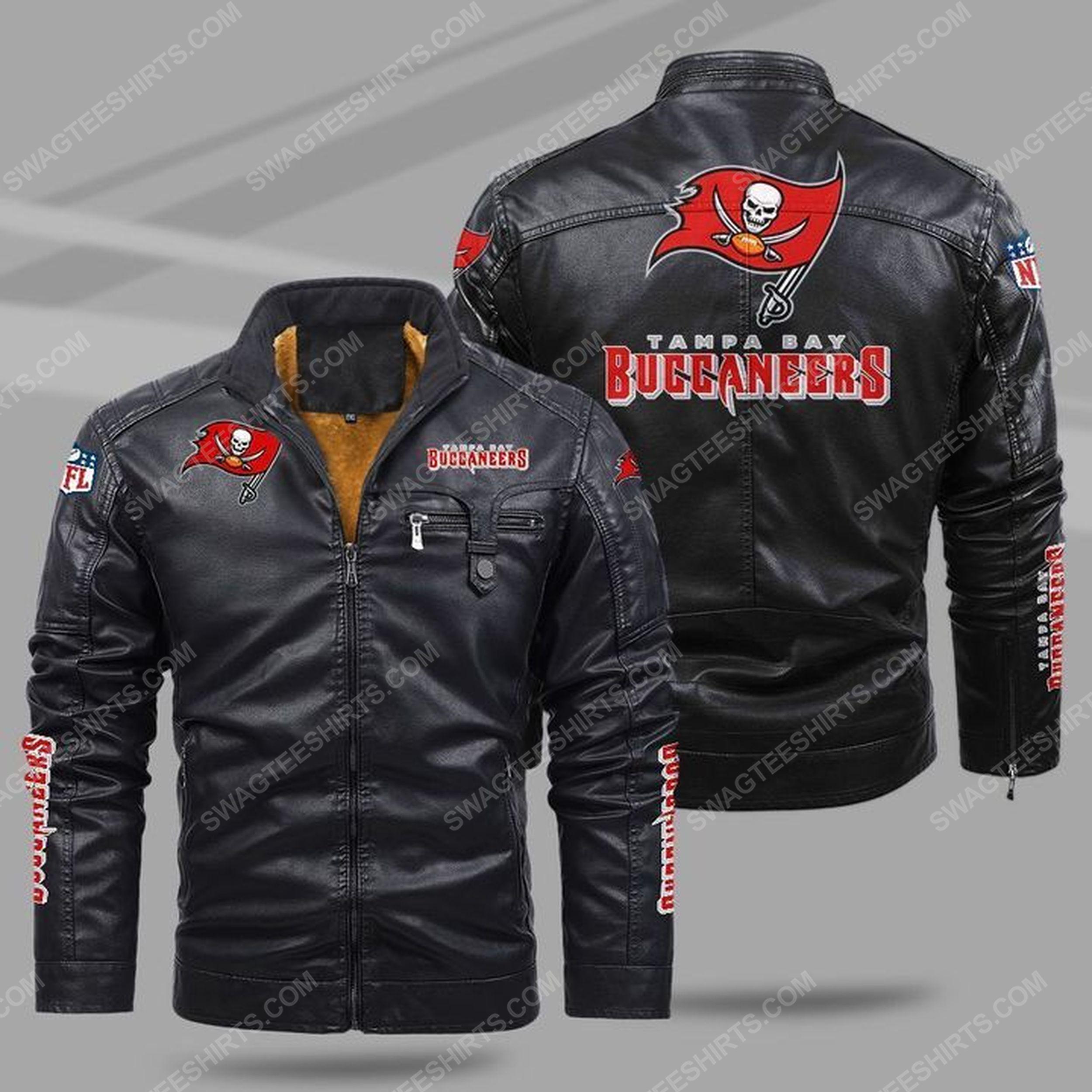 The tampa bay buccaneers nfl all over print fleece leather jacket - black 1