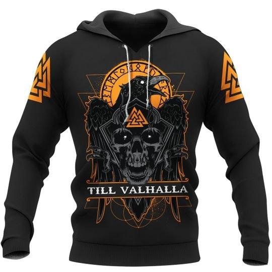 Till valhalla raven viking 3d all over print hoodie