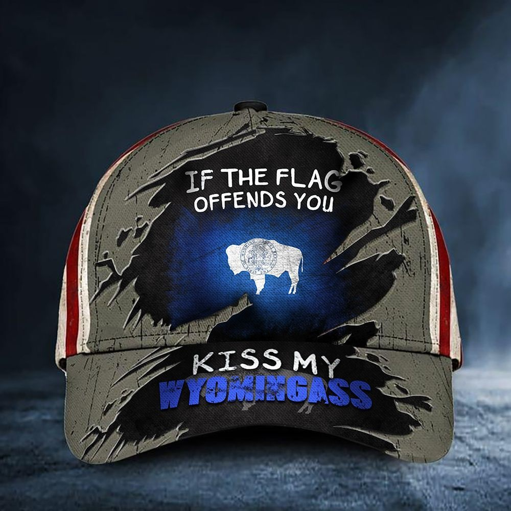 Vintage American flag If the flag offends you kiss my wyomingass cap