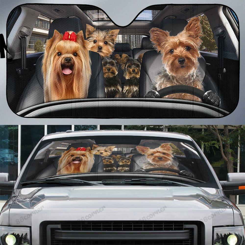 Yorkshire Terrier family car sunshade