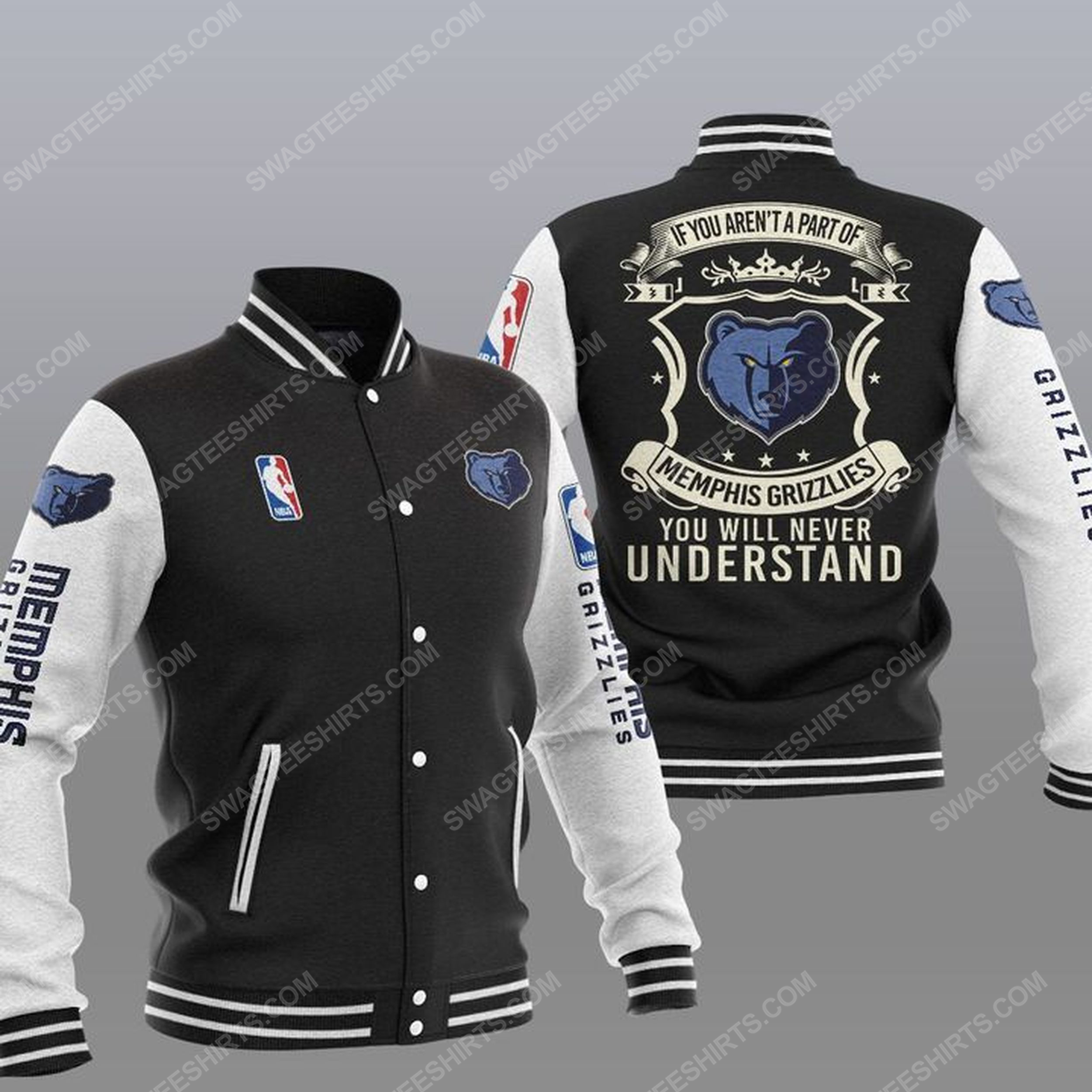 You will never understand memphis grizzlies all over print baseball jacket - black 1