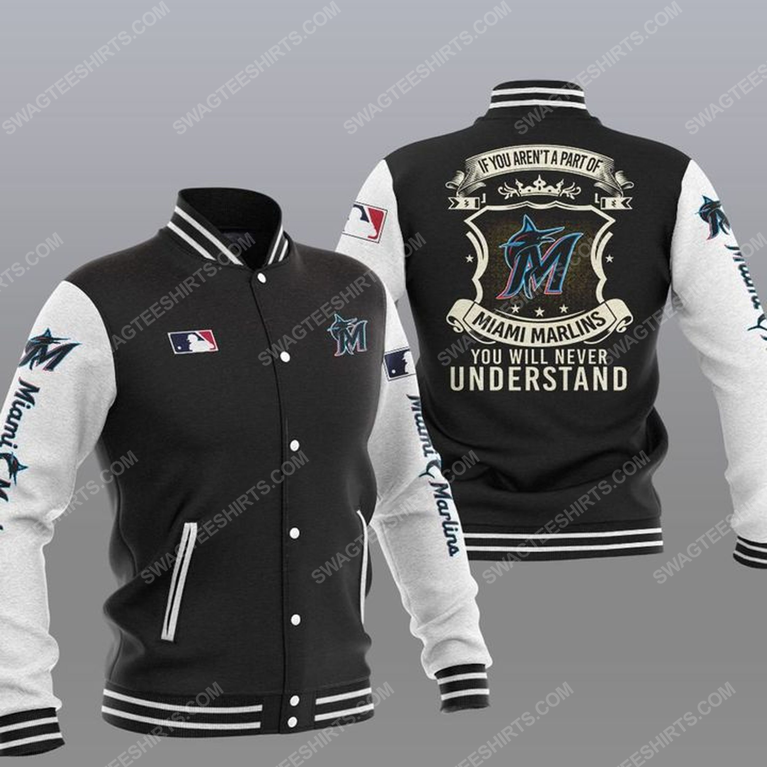You will never understand miami marlins all over print baseball jacket - black 1