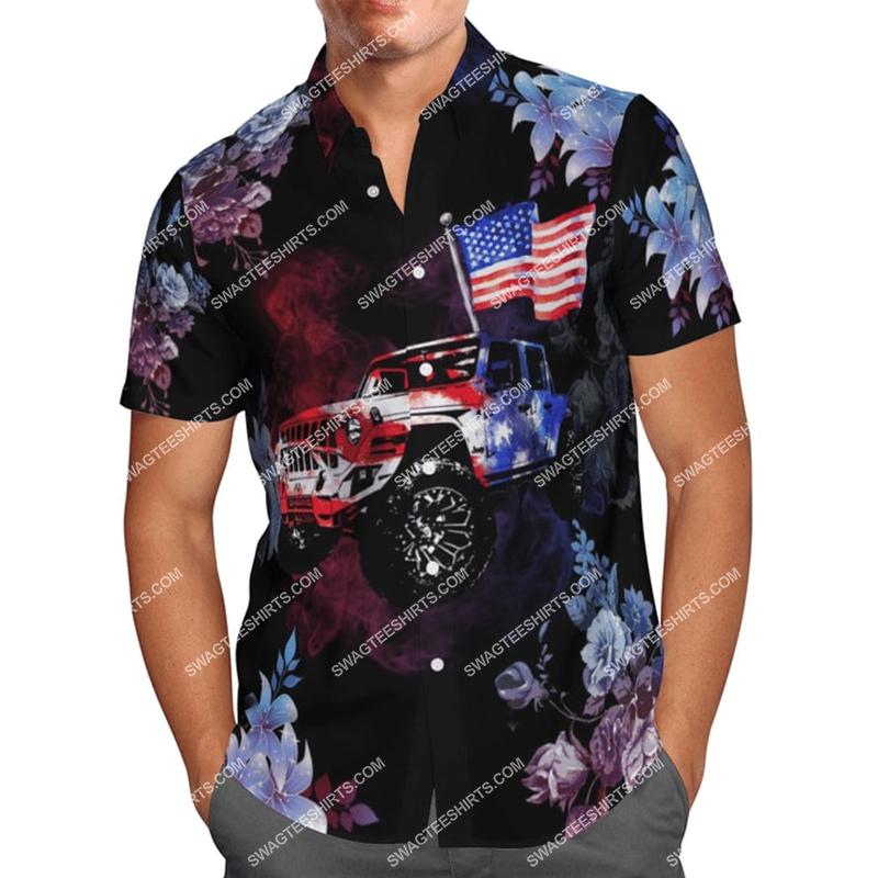 american flag jeep all over printed hawaiian shirt