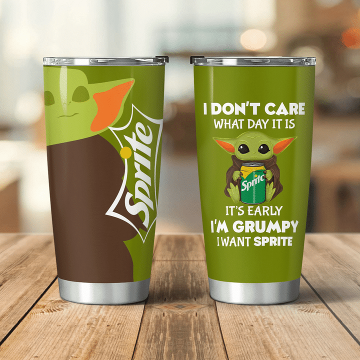 Baby Yoda Sprite I dont care what day it is Its early Im Grumpy I want coke Tumbler - LIMITED EDITION