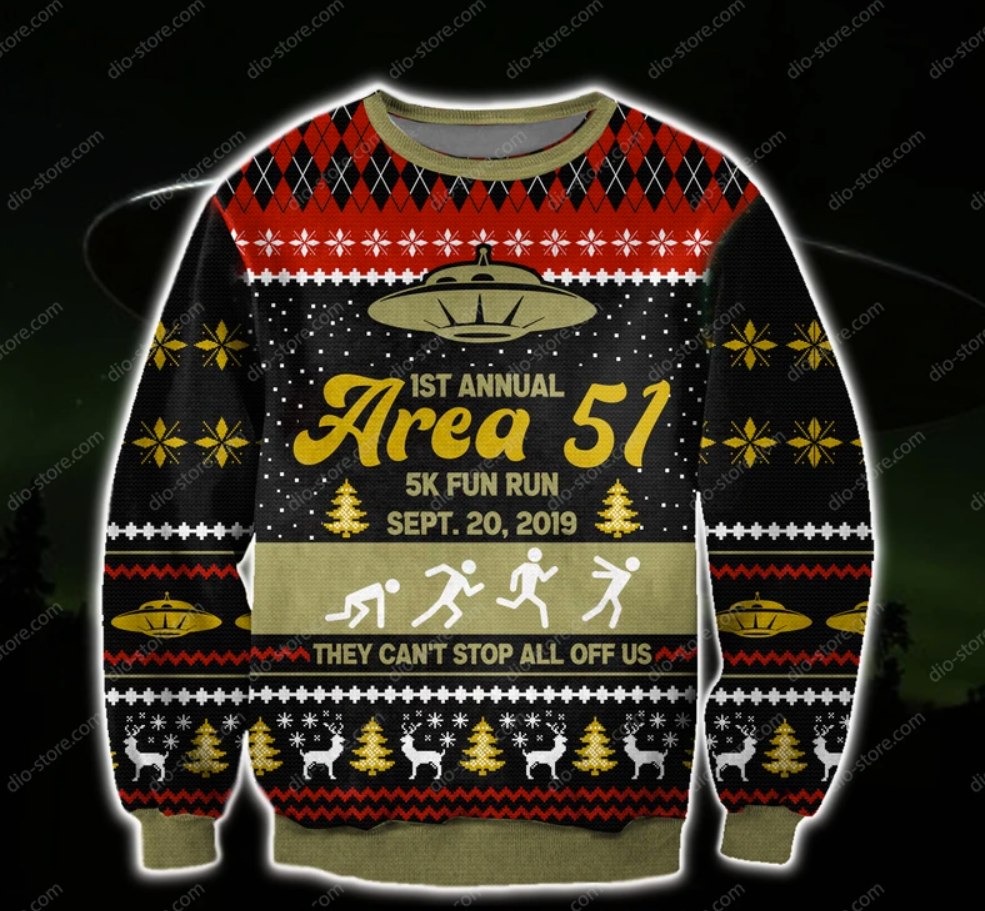 1st annual area 51 5k fun run sept 20 2019 3D ugly sweater