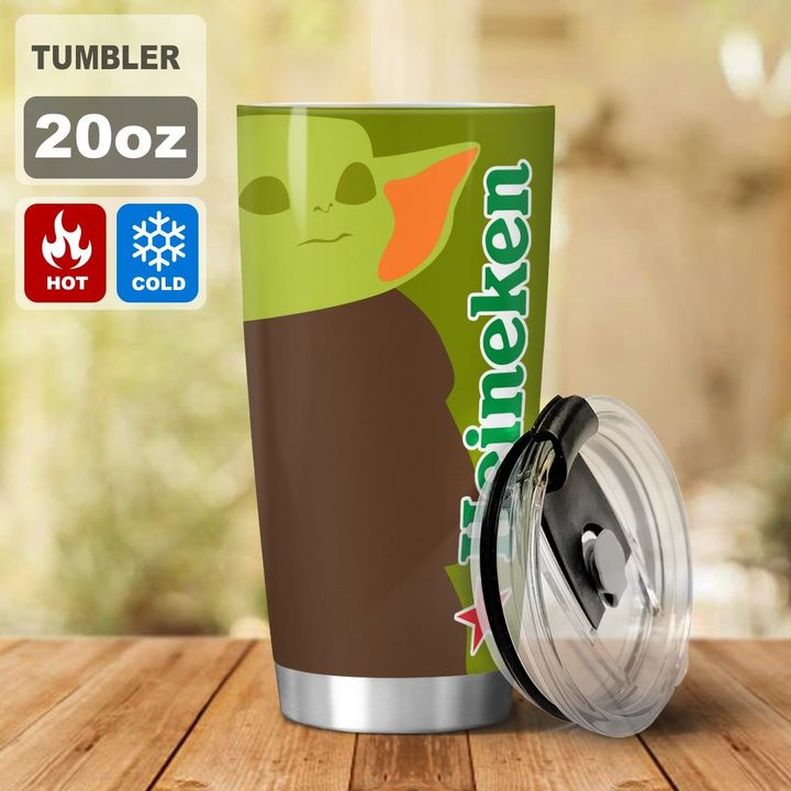 Baby Yoda Heineken I dont care what day it is Its early Im Grumpy I want coke Tumbler - LIMITED EDITION
