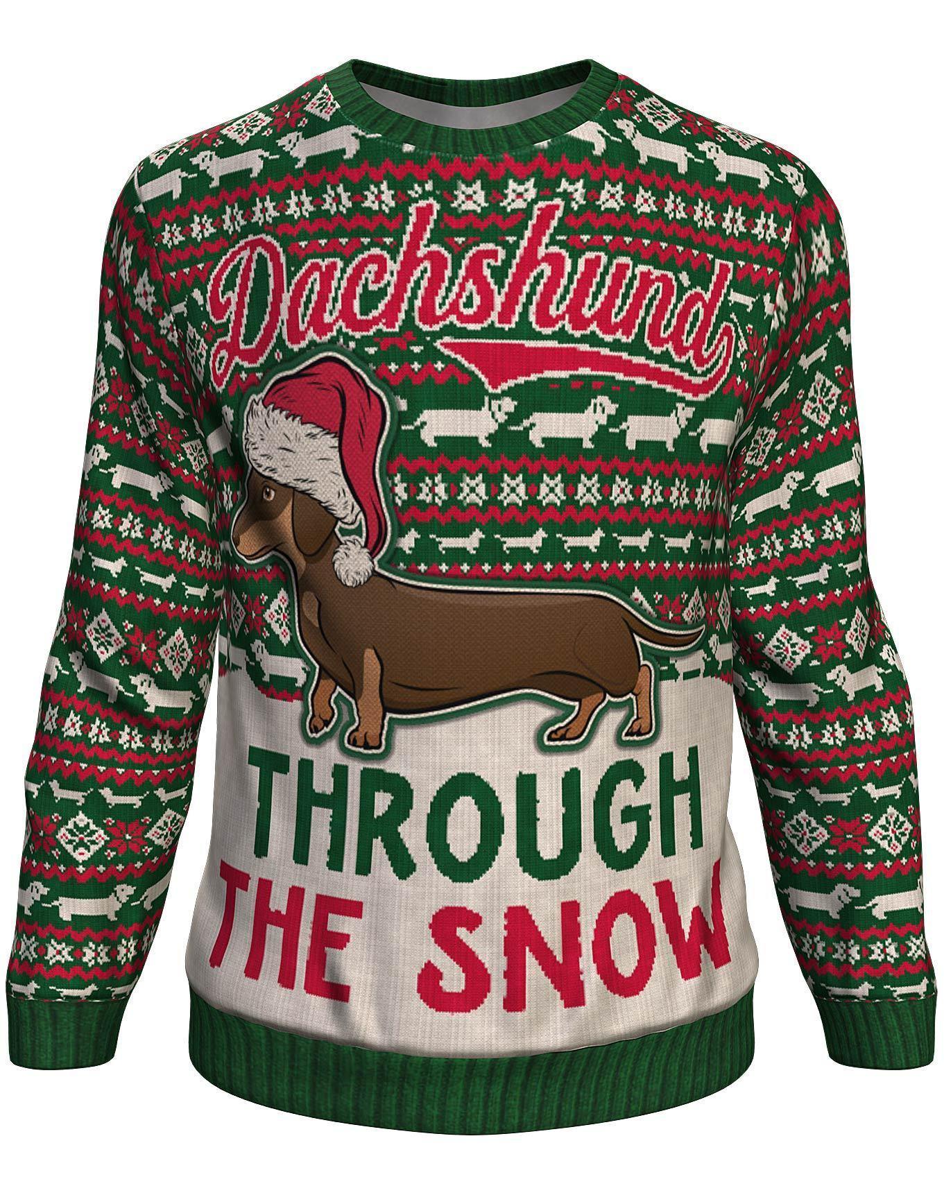 Christmas dachshund through the snow all over print sweater - maria