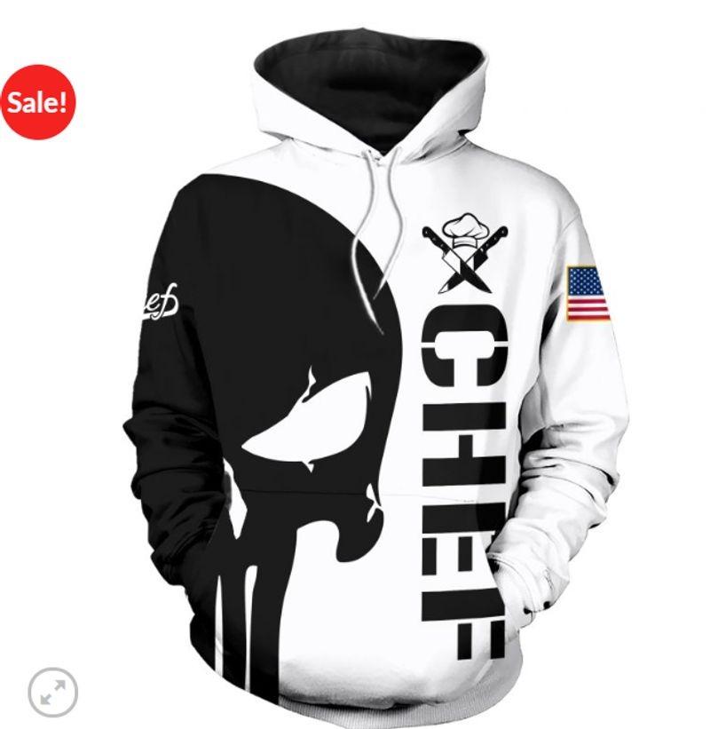 Punisher skull Chef 3d hoodie