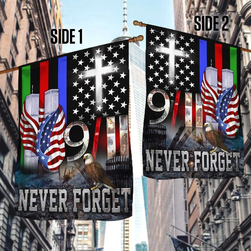 9/11 flag police military and fire thin line