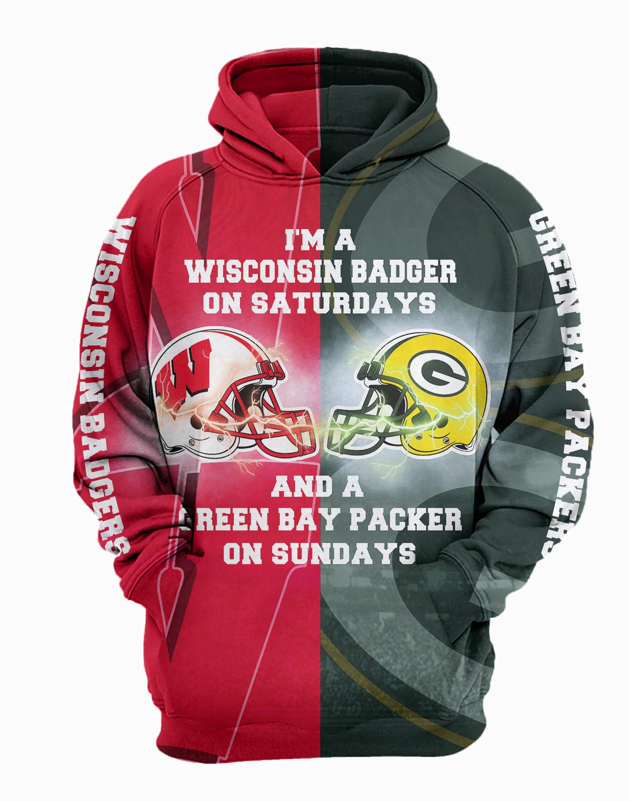 I'm a wisconsin badgers on saturdays and a green bay packers on sundays 3d hoodie - maria