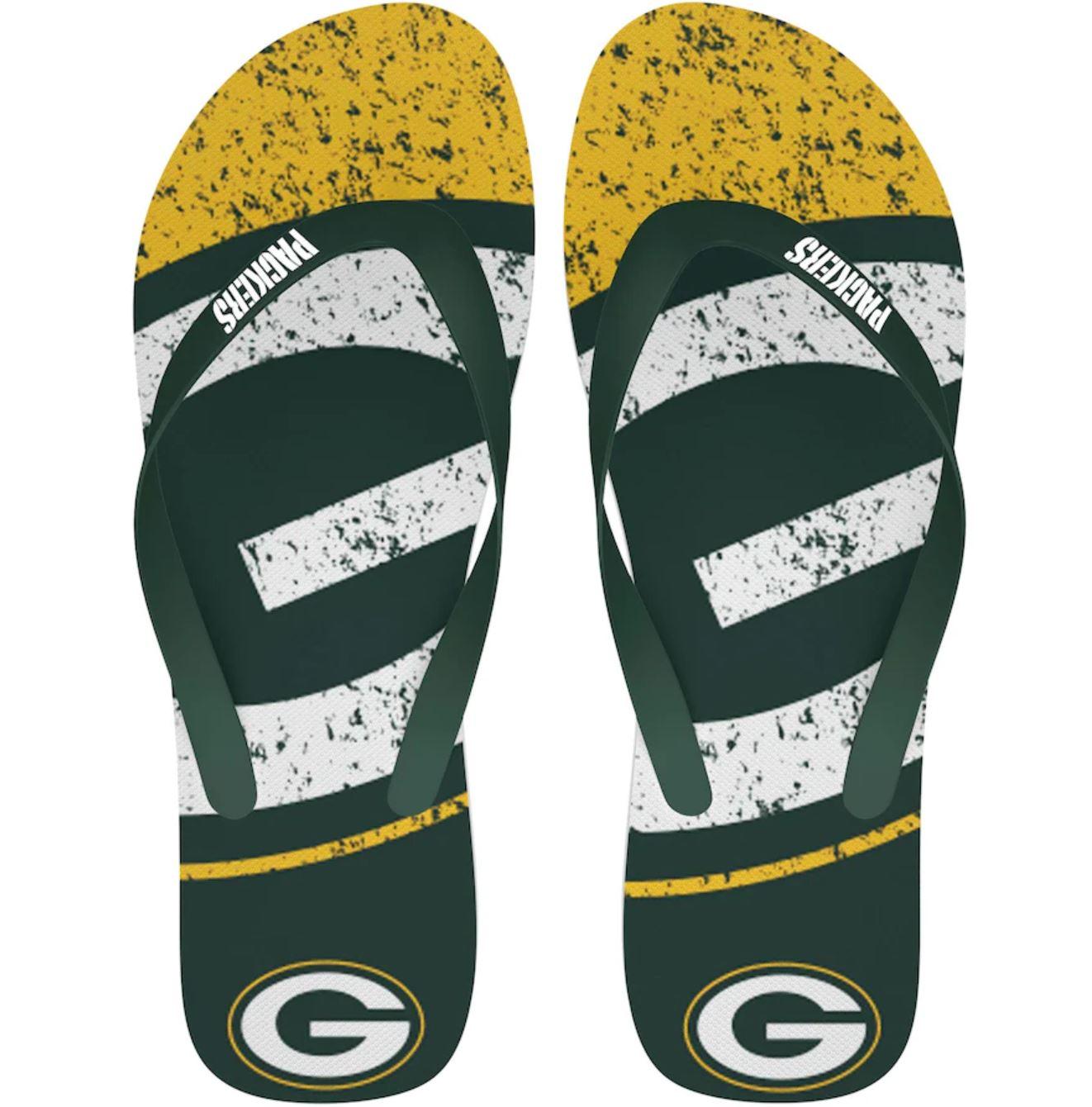 Green Bay Packers FOCO Big Logo Flip Flops