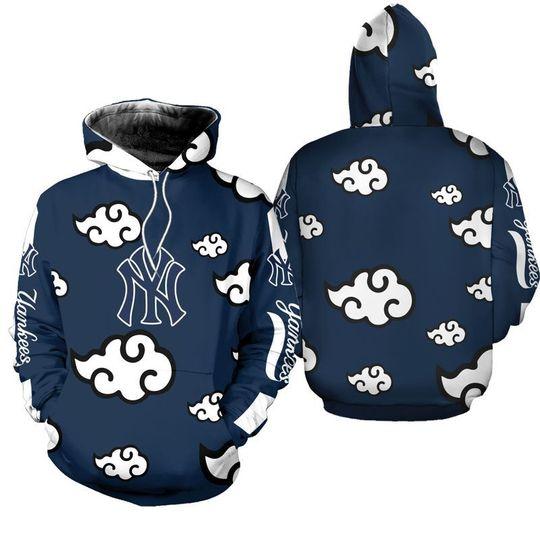 Akatsuki Naruto Cloudy New york yankees 3d hoodie1