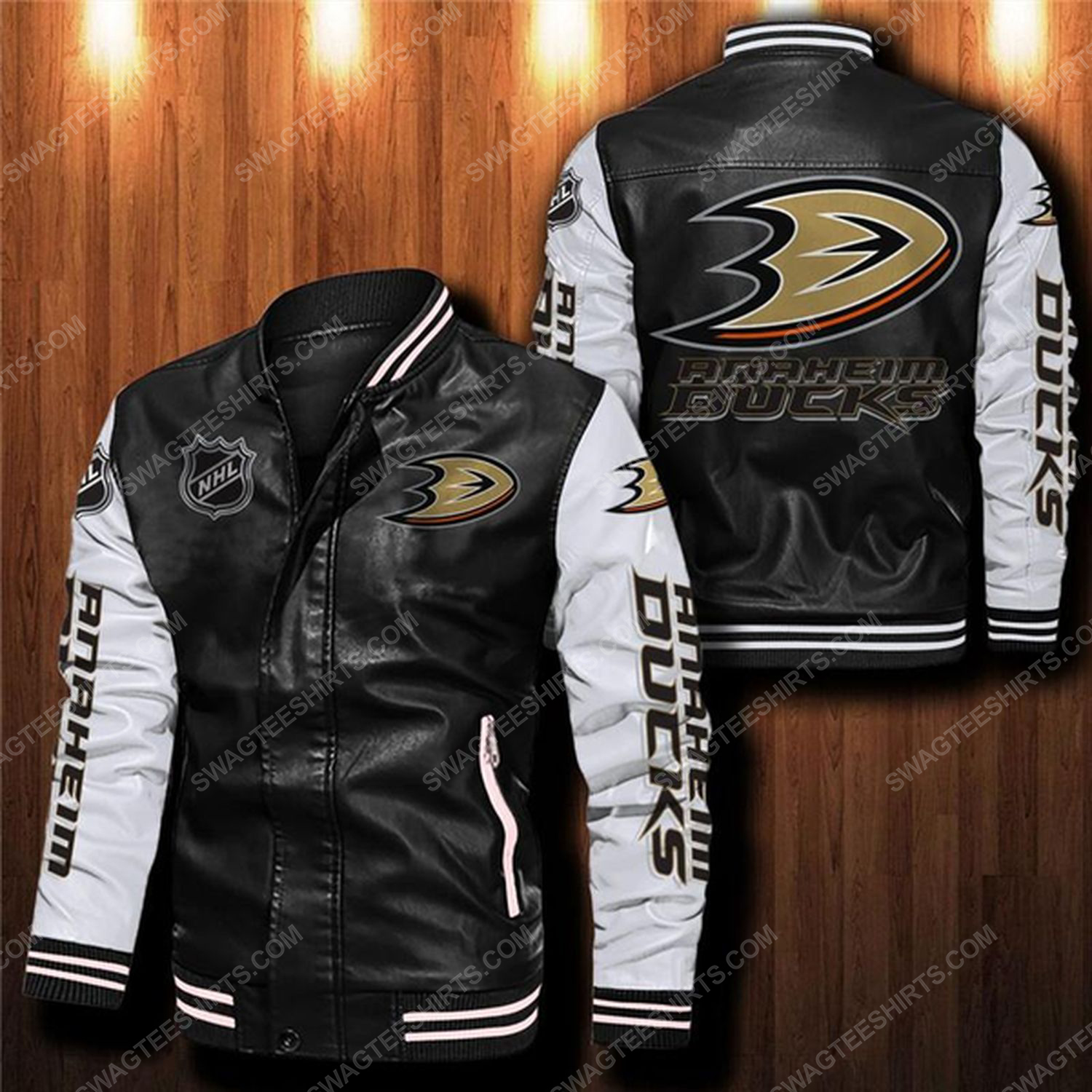 Anaheim ducks all over print leather bomber jacket - white