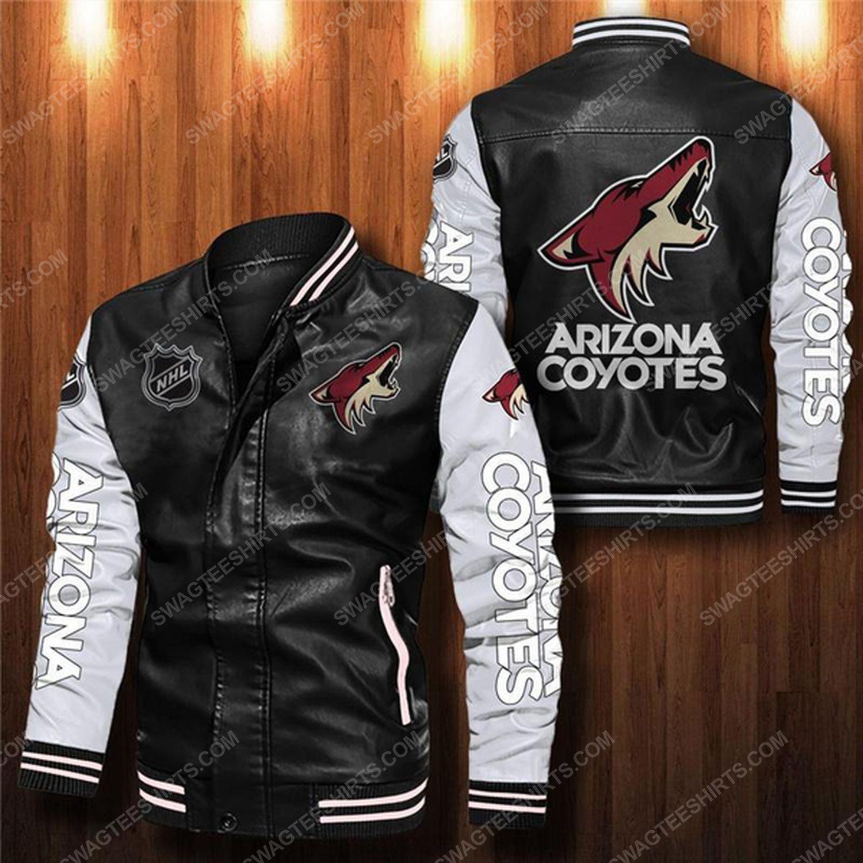 Arizona coyotes all over print leather bomber jacket - white