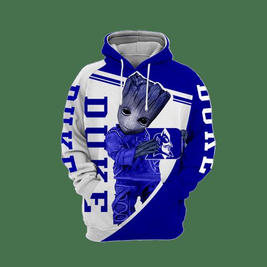 Baby Groot Duke blue devils 3d all over print hoodie1