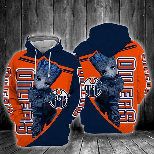 Baby Groot Edmonton oilers 3d all over print hoodie