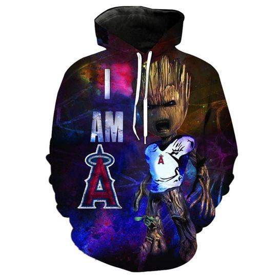 Baby Groot Los angeles angels 3d all over print hoodie1