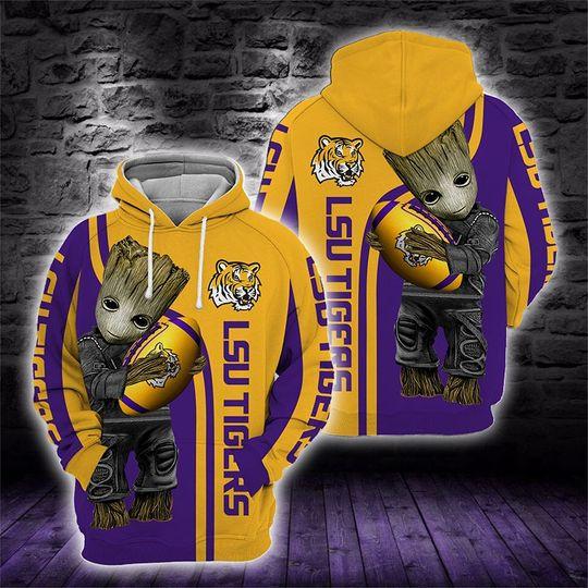 Baby Groot Lsu tigers 3d all over print hoodie