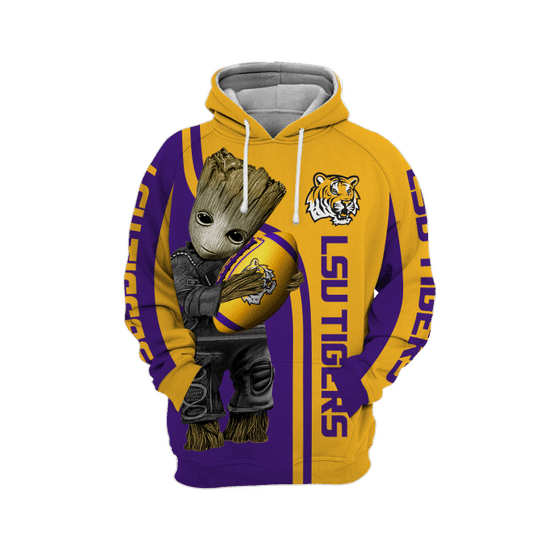 Baby Groot Lsu tigers 3d all over print hoodie - LIMITED EDITION