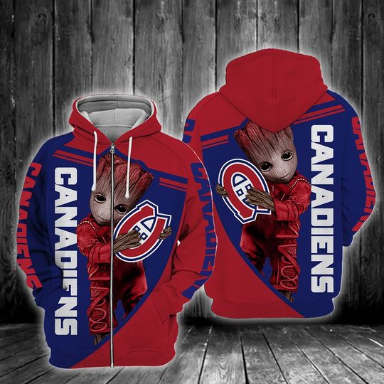 Baby Groot Montreal canadiens 3d all over print hoodie - LIMITED EDITION