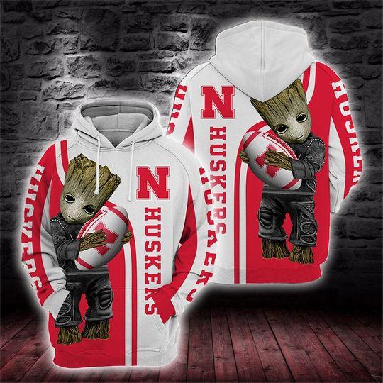 Baby Groot Nebraska cornhuskers 3d all over print hoodie