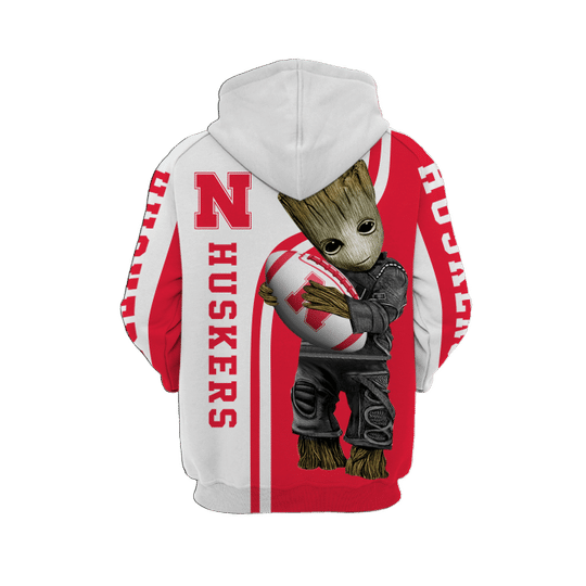 Baby Groot Nebraska cornhuskers 3d all over print hoodie - LIMITED EDITION