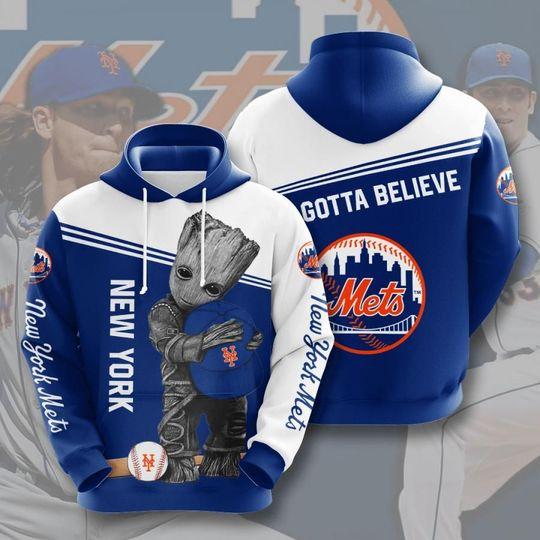Baby Groot New york mets 3d all over print hoodie