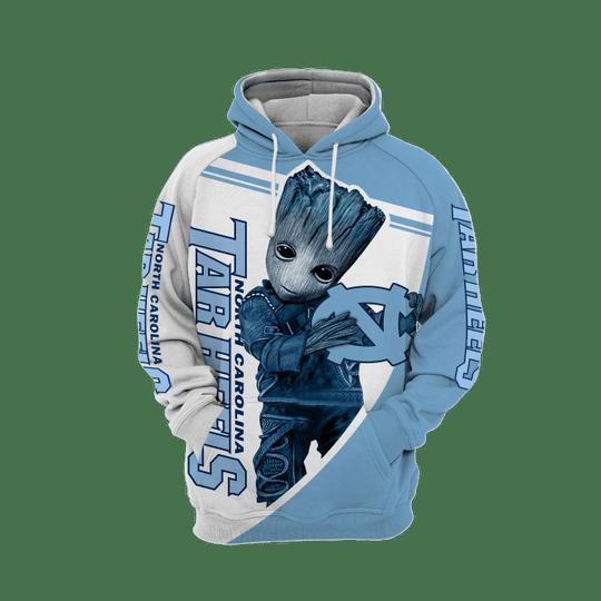 Baby Groot North carolina tar heels 3d all over print hoodie1