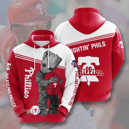 Baby Groot Philadelphia phillies 3d all over print hoodie