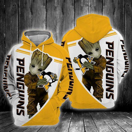 Baby Groot Pittsburgh penguins 3d all over print hoodie