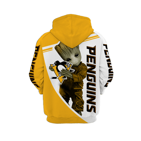 Baby Groot Pittsburgh penguins 3d all over print hoodie - LIMITED EDITION