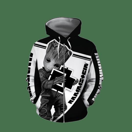 Baby Groot Rammstein 3d all over print hoodie4