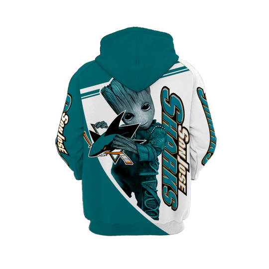 Baby Groot San jose sharks 3d all over print hoodie - LIMITED EDITION