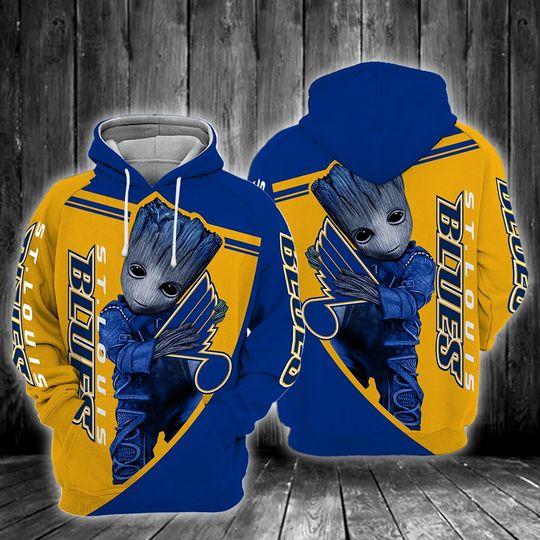 Baby Groot St. louis blues 3d all over print hoodie