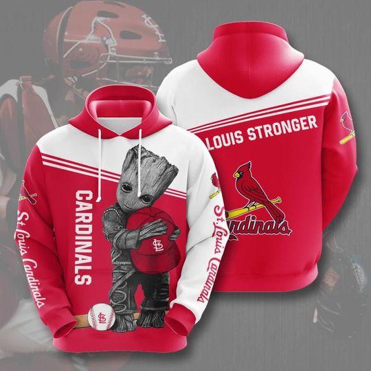 Baby Groot St.louis cardinals 3d all over print hoodie