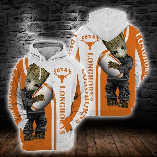 Baby Groot Texas longhorns 3d all over print hoodie